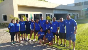 Atletas e comissão técnica no CT Unimed, em Guaratiba/RJ