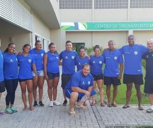 Atletas e comissão técnica no CT Unimed, em Guaratiba